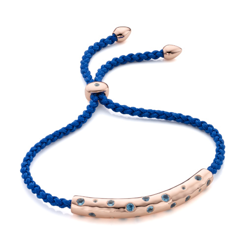 Rose Gold Vermeil Esencia Scatter Friendship Bracelet - Royal Blue - Monica Vinader