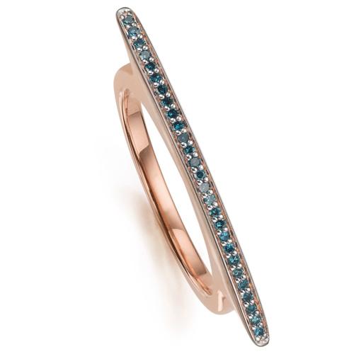 Rose Gold Vermeil Skinny Long Bar Ring - Blue Diamond - Monica Vinader