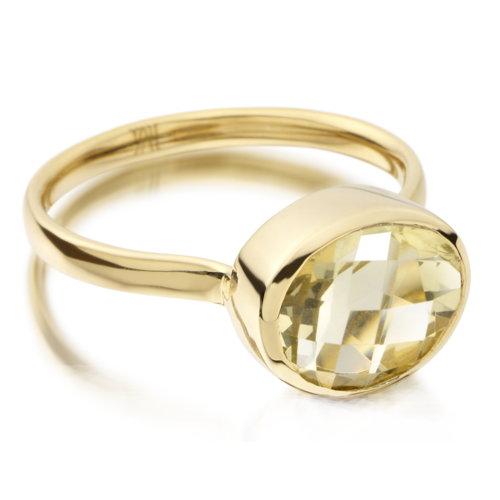 Gold Vermeil Candy Oval Ring - Green Gold Quartz - Monica Vinader