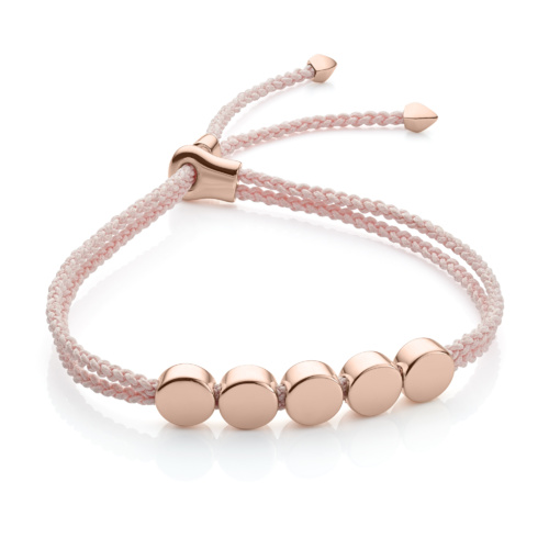Rose Gold Vermeil Linear Bead Friendship Bracelet - Ballet Pink - Monica Vinader