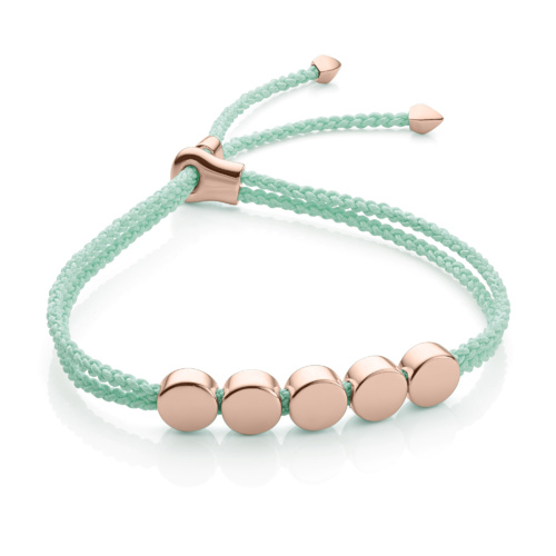 Rose Gold Vermeil Linear Bead Friendship Bracelet - Mint - Monica Vinader