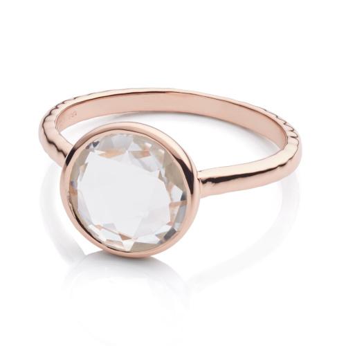 Rose Gold Vermeil Mini Luna Ring - Rock Crystal - Monica Vinader