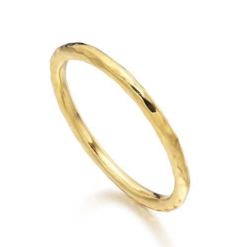 Gold Vermeil Hammered Ring - Monica Vinader