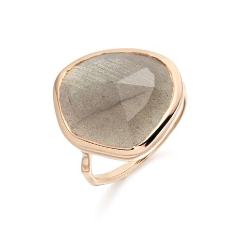 Rose Gold Vermeil Siren Ring - Labradorite - Monica Vinader