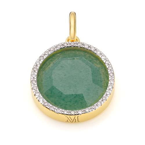 Gold Vermeil Naida Circle Pendant - Green Aventurine and Diamonds