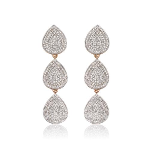 Rose Gold Vermeil Alma Cocktail Earrings - Diamond
