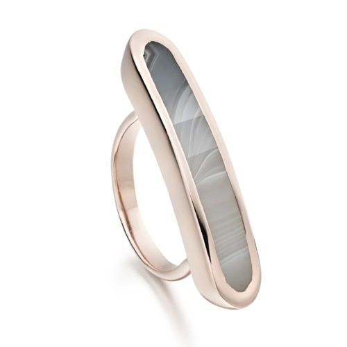 Rose Gold Vermeil Baja Long Ring - Grey Agate - Monica Vinader