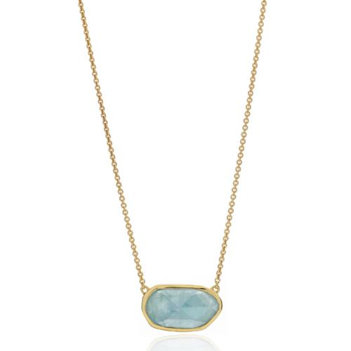 Gold Vermeil Capri Necklace - Aquamarine