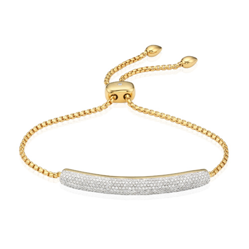 Gold Vermeil Esencia Pave Bar Bracelet - Diamond