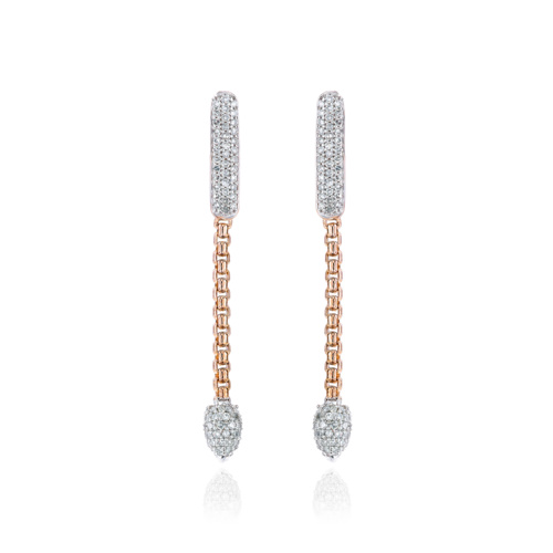 Rose Gold Vermeil Skinny Bud Short Full Pave Earrings - Diamond
