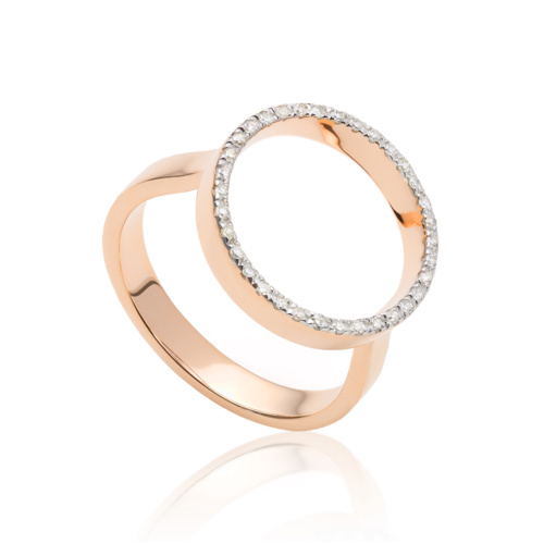 Rose Gold Vermeil Naida Circle Open Ring - Diamond
