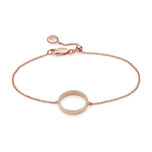 Rose Gold Vermeil Naida Circle Open Bracelet - Diamond
