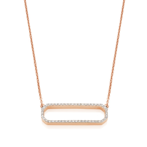 Rose Gold Vermeil Naida Rectangle Open Necklace - Diamond