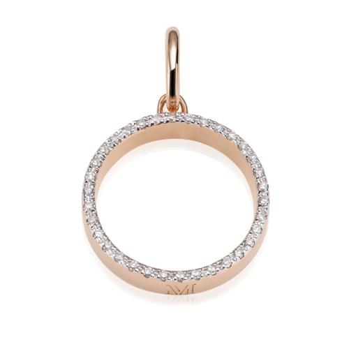 Rose Gold Vermeil Naida Circle Open Pendant - Diamond