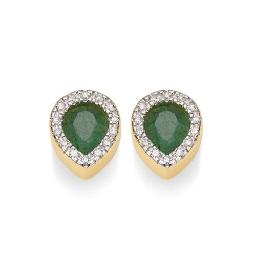 Gold Vermeil Naida Lotus Stud Earrings - Green Aventurine and Diamonds