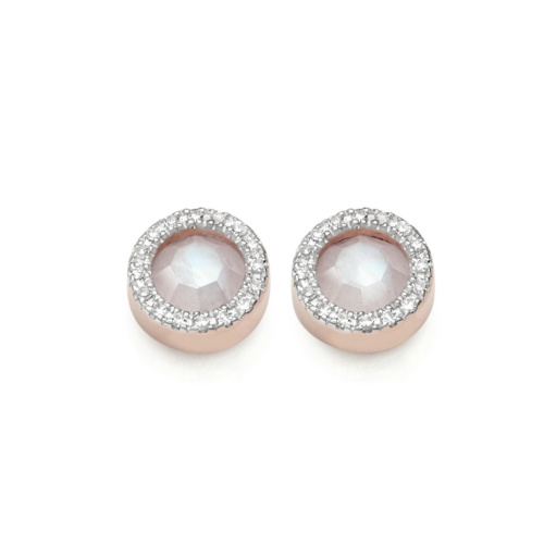 Rose Gold Vermeil Naida Circle Stud Earrings - Moonstone and Diamonds Front