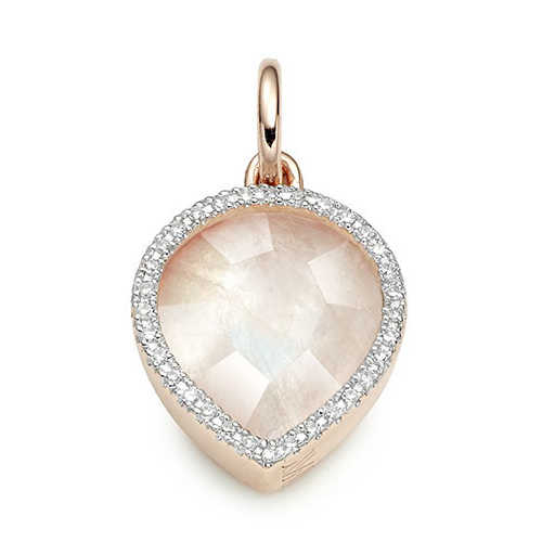 Rose Gold Vermeil Naida Lotus Pendant - Moonstone and Diamonds