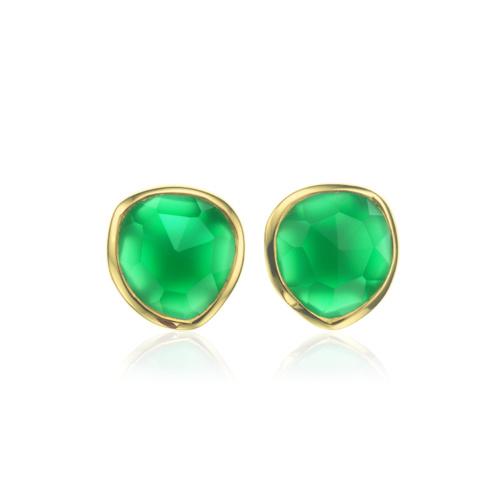 Gold Vermeil Siren Stud Earring - Green Onyx