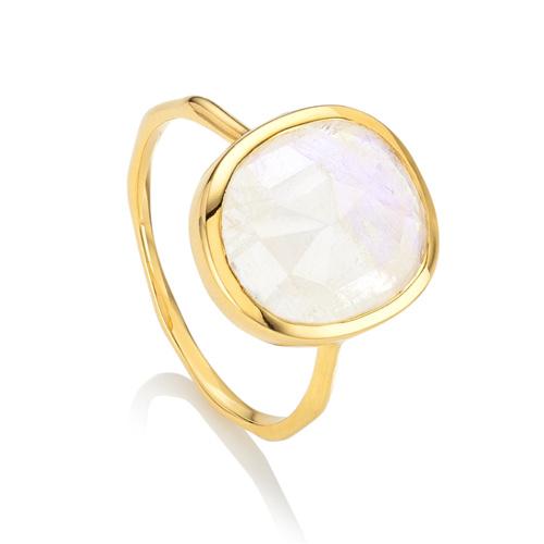 Gold Vermeil Siren Medium Stacking Ring - Moonstone