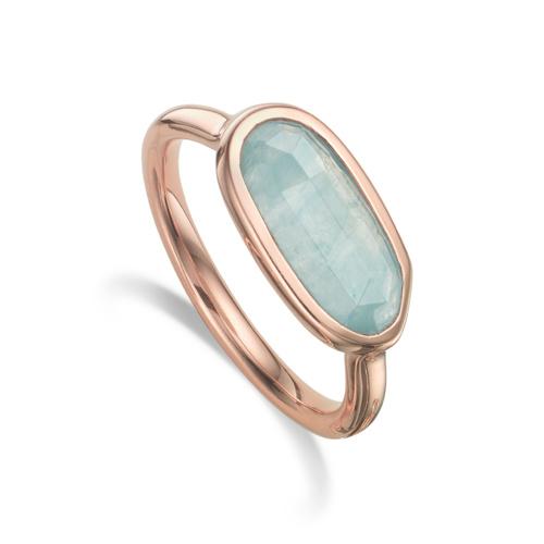 Rose Gold Vermeil Vega Ring - Aquamarine