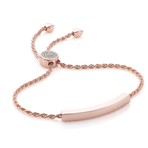Rose Gold Vermeil Linear Pave Toggle Chain Bracelet - Diamond