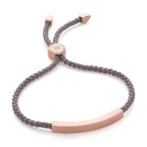 Rose Gold Vermeil Linear Friendship Bracelet - Mink Cord