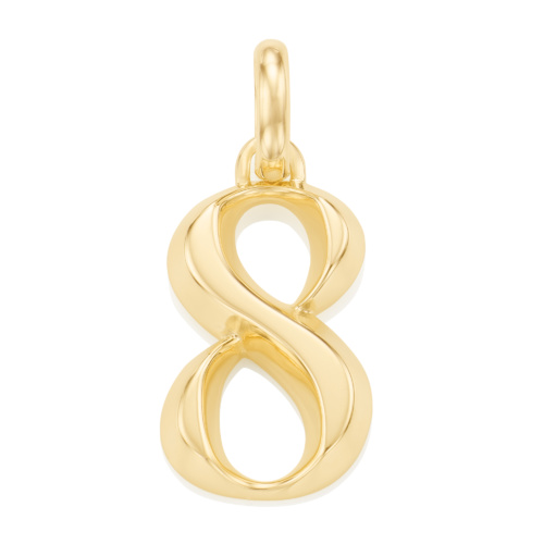 Gold Vermeil Alphabet Pendant Number 8