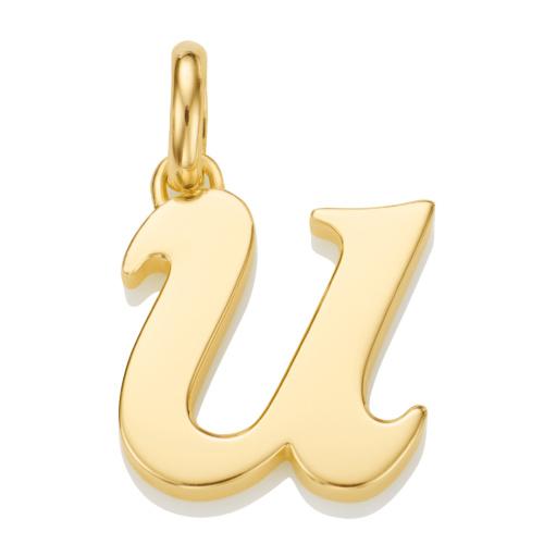 Gold Vermeil Alphabet Pendant U
