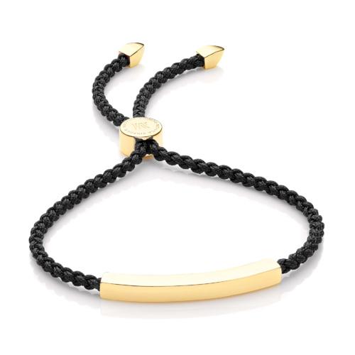 Gold Vermeil Linear Friendship Bracelet - Black Cord