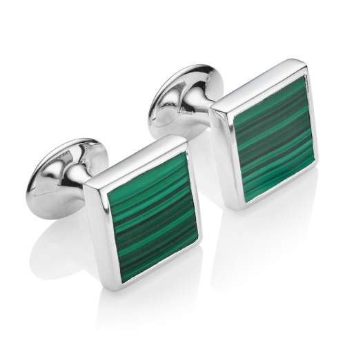 Stone Square Cufflinks - Malachite - Monica Vinader