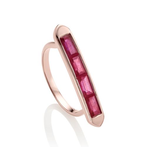 Rose Gold Vermeil Baja Precious Skinny Ring - Ruby