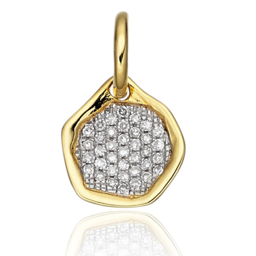 Gold Vermeil Riva Diamond Mini Pendant - Diamond - Monica Vinader
