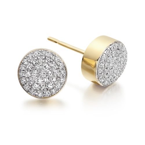 Gold Vermeil Ava Button Stud Earrings - Diamond - Monica Vinader