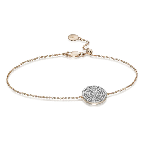 Rose Gold Vermeil Ava Disc Bracelet - Diamond - Monica Vinader