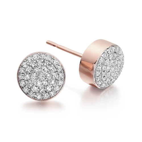 Rose Gold Vermeil Ava Button Stud Earrings - Diamond - Monica Vinader