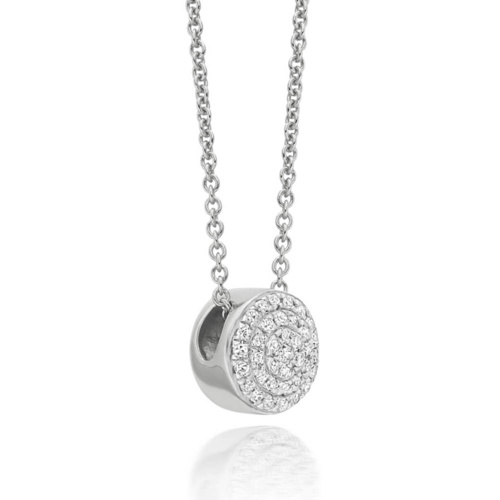 Ava Button Necklace - Diamond - Monica Vinader