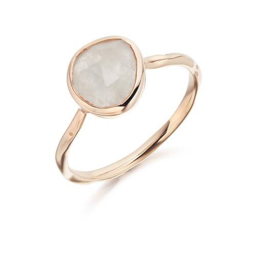 Rose Gold Vermeil Siren Stacking Ring - Moonstone - Monica Vinader