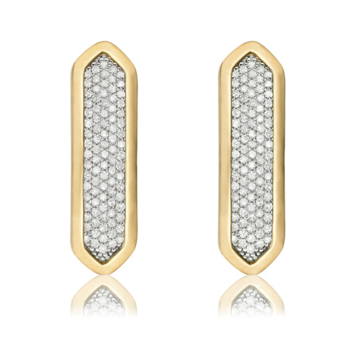 Gold Vermeil Baja Long Stud Earrings - Diamond - Monica Vinader