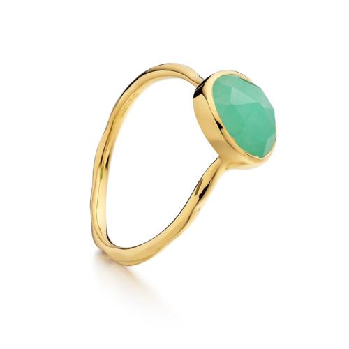 Gold Vermeil Siren Stacking Ring - Chrysoprase - Monica Vinader