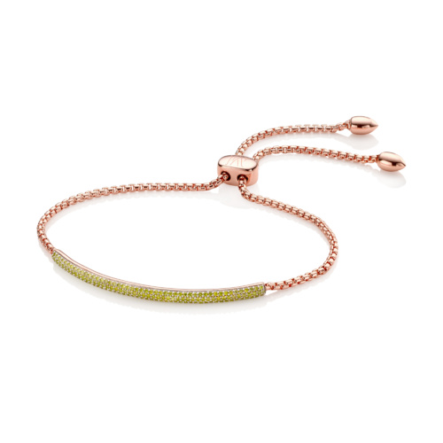 Rose Gold Vermeil Stellar Diamond Mini Bar Bracelet - Yellow Diamond - Monica Vinader