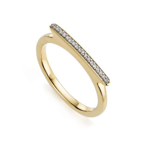 Gold Vermeil Skinny Bar Ring - Monica Vinader