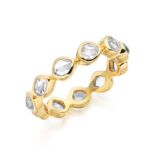 Gold Vermeil Siren Eternity Ring Small - Rock Crystal