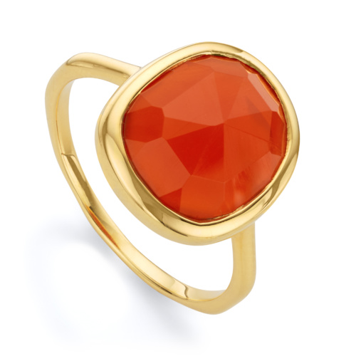 Gold Vermeil Siren Medium Stacking Ring - Orange Carnelian