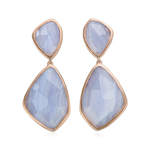 Rose Gold Vermeil Siren Cocktail Earrings - Blue Lace Agate