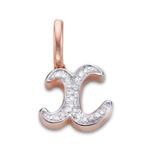 Rose Gold Vermeil Alphabet Pendant X