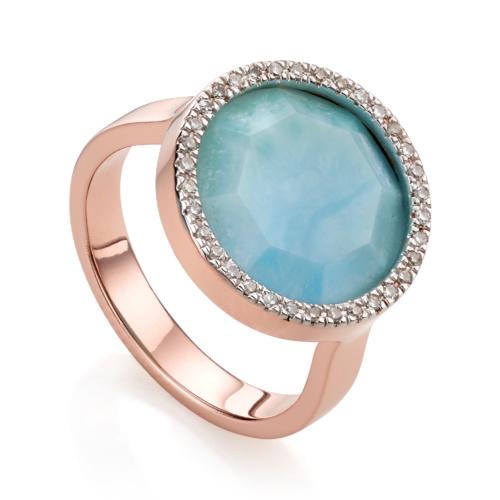 Rose Gold Vermeil Naida Circle Ring - Larimar and Diamond
