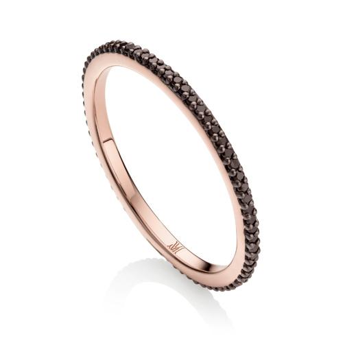 Rose Gold Vermeil Skinny Eternity Ring - Black Diamond - Monica Vinader