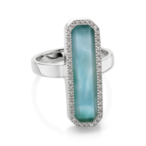 Naida Rectangle Ring - Larimar - Monica Vinader