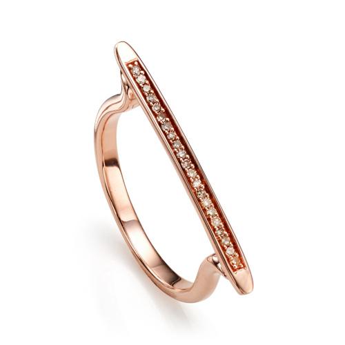 Rose Gold Vermeil Skinny Stacking Ring - Champagne Diamond - Monica Vinader