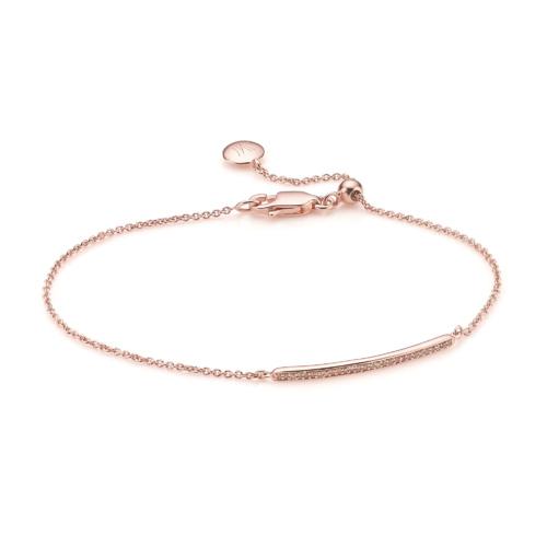 Rose Gold Vermeil Skinny Short Bar Bracelet - Champagne Diamond - Monica Vinader
